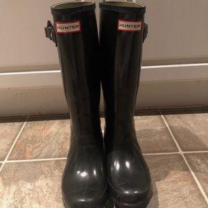 Black Shiny Hunter Boots